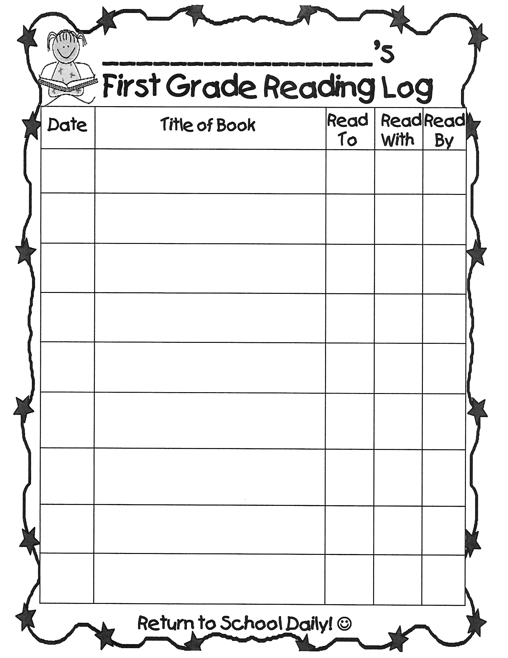 Worksheet 1 Grade Reading farelli annette grade 1 teacher reading log form first log